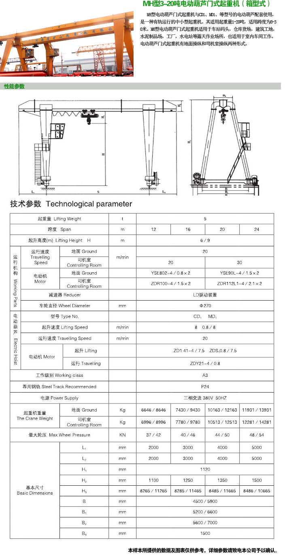 MH电动葫芦门式凯发k8手机版下载(箱型式)
